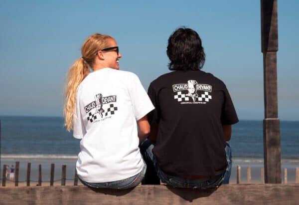 Afbeelding_Kokskleding_T-Shirt Wit & Zwart met Chaud Devant logo